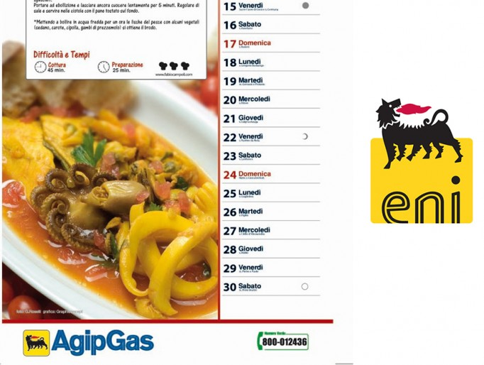 Cura dei contenuti gastronomici e fotografici per due edizioni del Calendario Agip